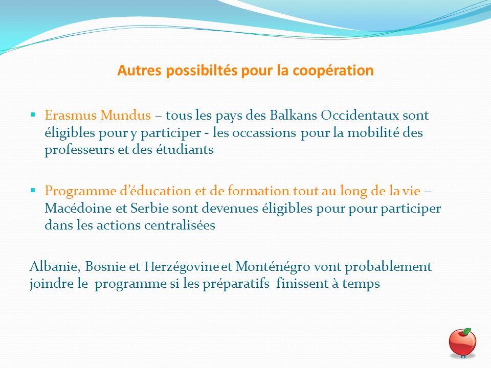 Autres possibiltés pour la coopération Erasmus Mundus – tous les pays des Balkans Occidentaux sont éligibles pour y participer - les occassions pour l
