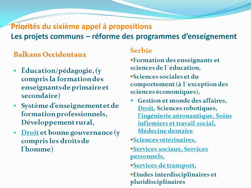 Priorit Priorités du sixième appel à propositions Les projets communs – réforme des programmes denseignement Balkans Occidentaux Éducation/pédagogie,