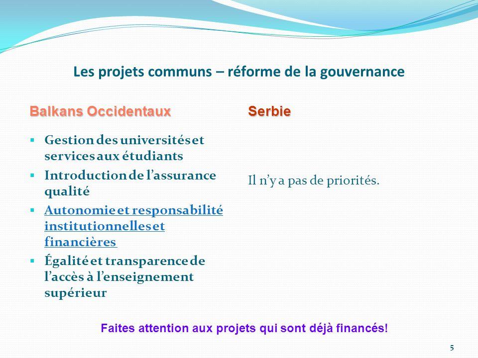 Les projets communs – réforme de la gouvernance Balkans Occidentaux Gestion des universités et services aux étudiants Introduction de lassurance quali