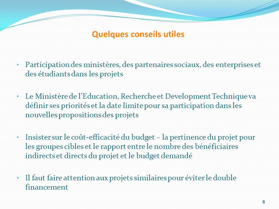 Plus dinformation Sur les projets actuels ou ceux qui ont été financés: http://eacea.ec.europa.eu/temp us/results_compendia/projects_ description_en.php http://eacea.ec.europa.eu/temp us/results_compendia/projects_ description_en.php La base de données du Bureau National de Tempus Serbe sur les projets et leurs résultats Les informations sur les systèmes de l éducation supérieure http://eacea.ec.europa.eu/tempus/ tools/publications_en.php#6 9