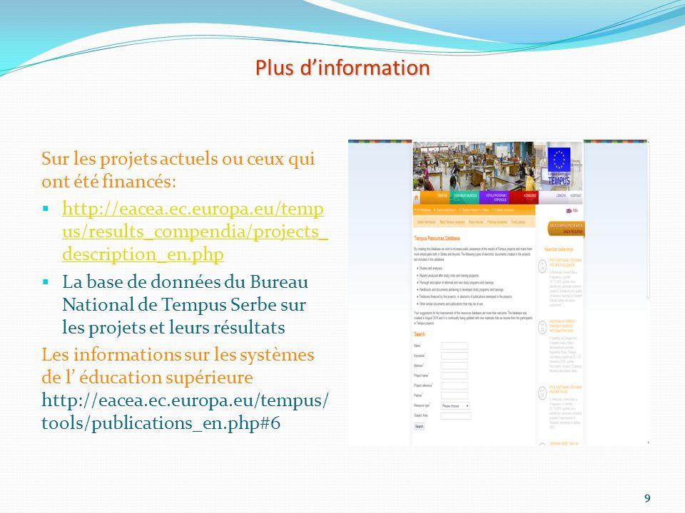 Plus dinformation Sur les projets actuels ou ceux qui ont été financés: http://eacea.ec.europa.eu/temp us/results_compendia/projects_ description_en.p