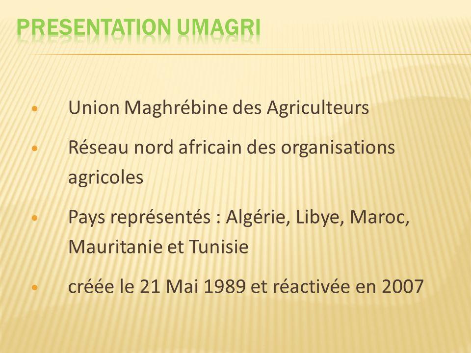 LUnion Nationale des Agriculteurs Algériens Le Syndicat Général des Agriculteurs et Eleveurs de Libye LUnion Marocaine de lAgriculture La Fédération de lAgriculture et de lElevage de la Mauritanie LUnion Tunisienne de lagriculture et de la pêche
