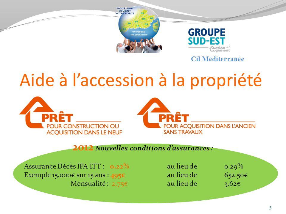 Aide à laccession à la propriété 5 2012 Nouvelles conditions dassurances : Assurance Décès IPA ITT : 0.22% au lieu de 0.29% Exemple 15.000 sur 15 ans : 495 au lieu de 652.50 Mensualité : 2,75 au lieu de 3,62 Cil Méditerranée