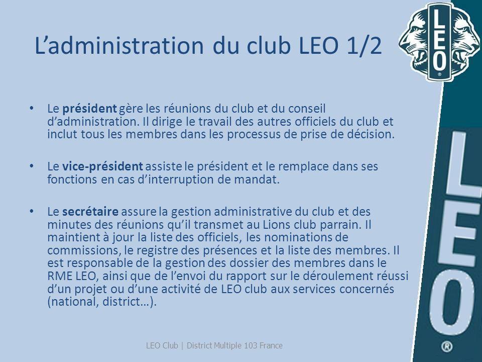 Ladministration du club LEO 1/2 Le président gère les réunions du club et du conseil dadministration. Il dirige le travail des autres officiels du clu