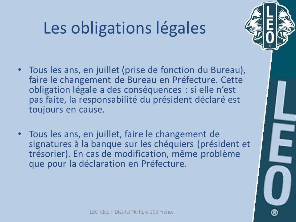 Les obligations légales Tous les ans, en juillet (prise de fonction du Bureau), faire le changement de Bureau en Préfecture. Cette obligation légale a