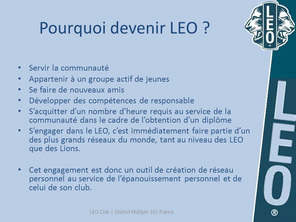 Pourquoi devenir LEO ? Servir la communauté Appartenir à un groupe actif de jeunes Se faire de nouveaux amis Développer des compétences de responsable