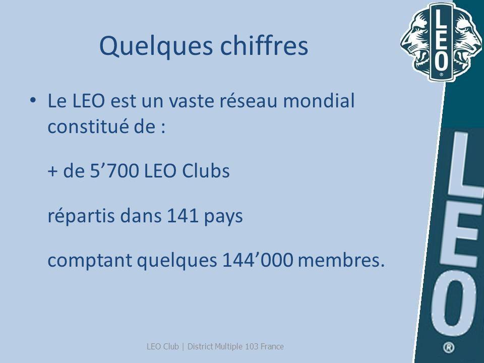 Quelques chiffres Le LEO est un vaste réseau mondial constitué de : + de 5700 LEO Clubs répartis dans 141 pays comptant quelques 144000 membres. LEO C