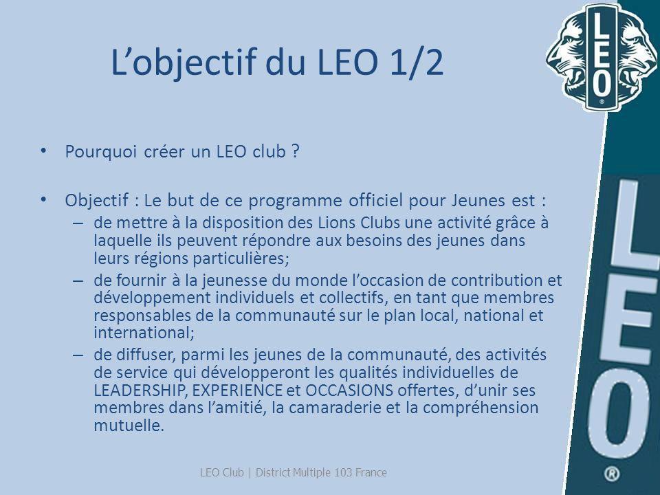 Lobjectif du LEO 1/2 Pourquoi créer un LEO club ? Objectif : Le but de ce programme officiel pour Jeunes est : – de mettre à la disposition des Lions