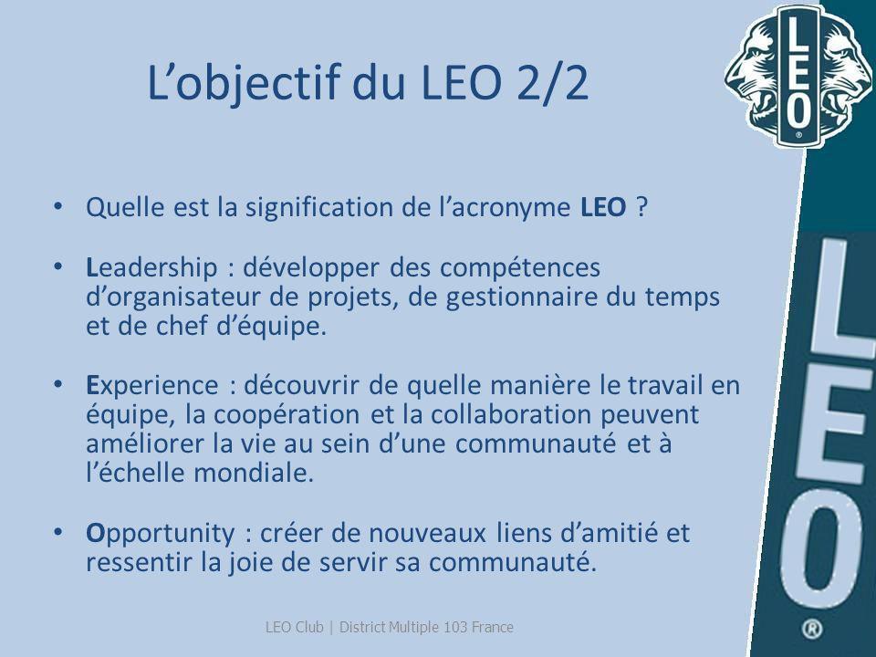 Lobjectif du LEO 2/2 Quelle est la signification de lacronyme LEO ? Leadership : développer des compétences dorganisateur de projets, de gestionnaire