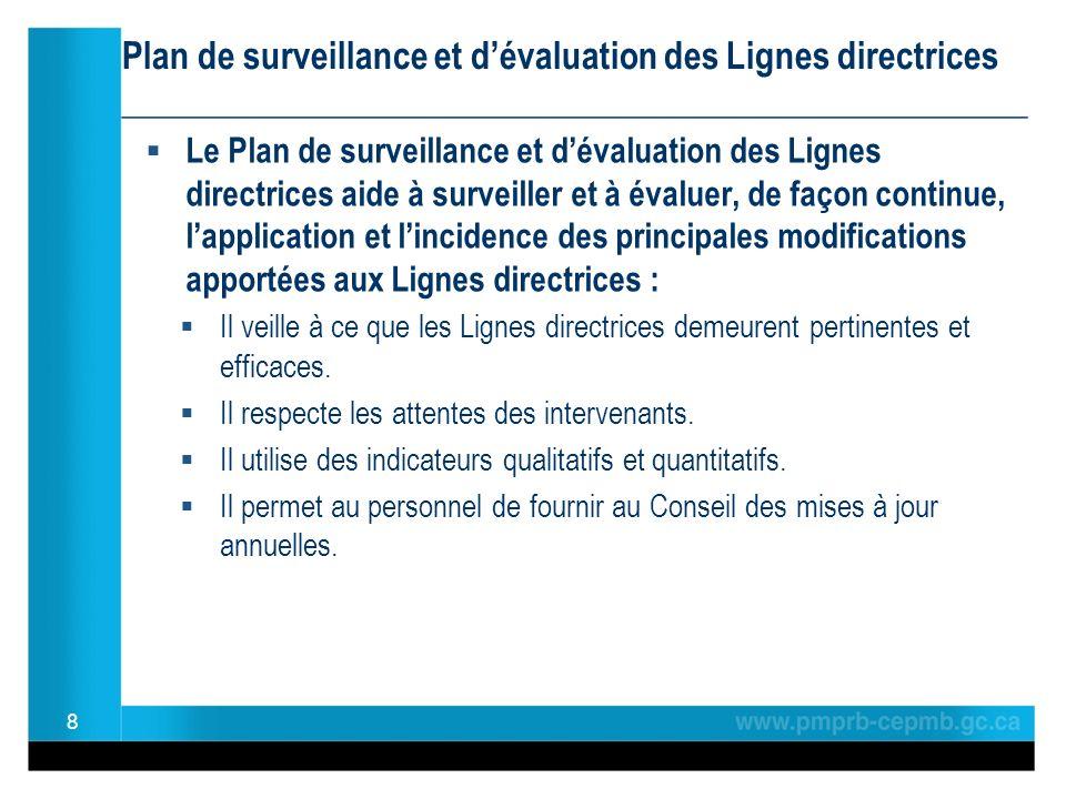 Plan de surveillance et dévaluation des Lignes directrices ________________________________________________ Le Plan de surveillance et dévaluation des Lignes directrices aide à surveiller et à évaluer, de façon continue, lapplication et lincidence des principales modifications apportées aux Lignes directrices : Il veille à ce que les Lignes directrices demeurent pertinentes et efficaces.