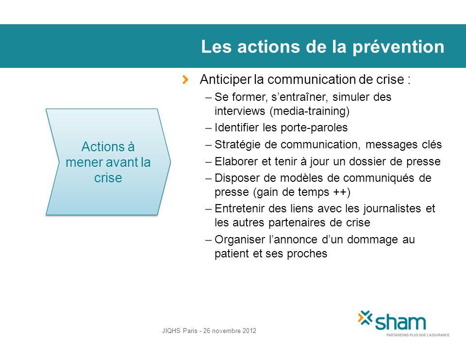 Les actions de la prévention Anticiper la communication de crise : –Se former, sentraîner, simuler des interviews (media-training) –Identifier les por