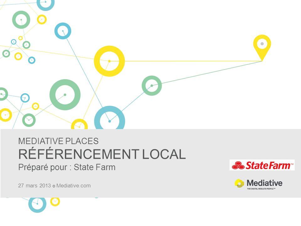 MEDIATIVE PLACES RÉFÉRENCEMENT LOCAL Préparé pour : State Farm 27 mars 2013 Mediative.com