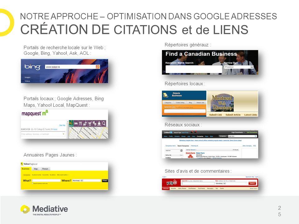 Portails de recherche locale sur le Web ; Google, Bing, Yahoo!, Ask, AOL : 25 NOTRE APPROCHE – OPTIMISATION DANS GOOGLE ADRESSES CRÉATION DE CITATIONS