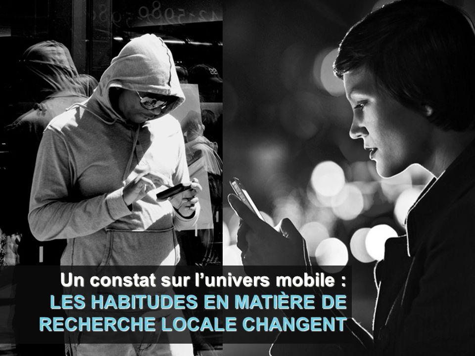 Un constat sur lunivers mobile : LES HABITUDES EN MATIÈRE DE RECHERCHE LOCALE CHANGENT
