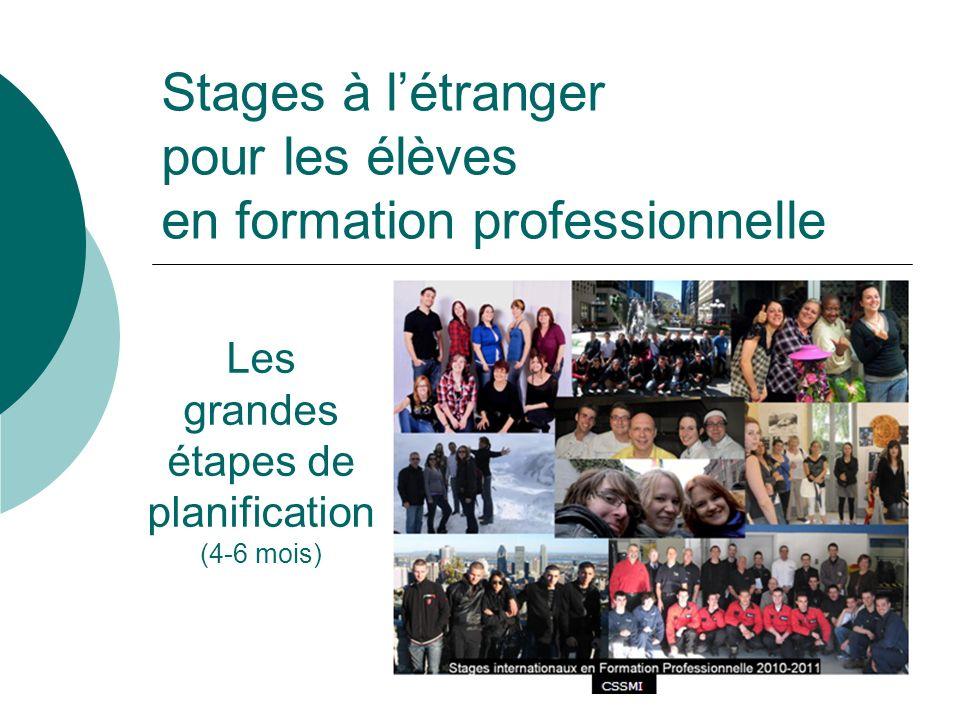 Stages à létranger pour les élèves en formation professionnelle Les grandes étapes de planification (4-6 mois)