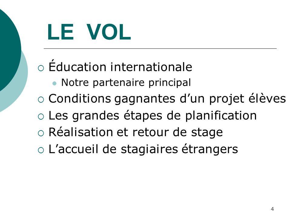 4 LE VOL Éducation internationale Notre partenaire principal Conditions gagnantes dun projet élèves Les grandes étapes de planification Réalisation et retour de stage Laccueil de stagiaires étrangers