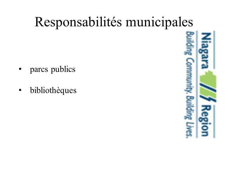 Responsabilités municipales parcs publics bibliothèques