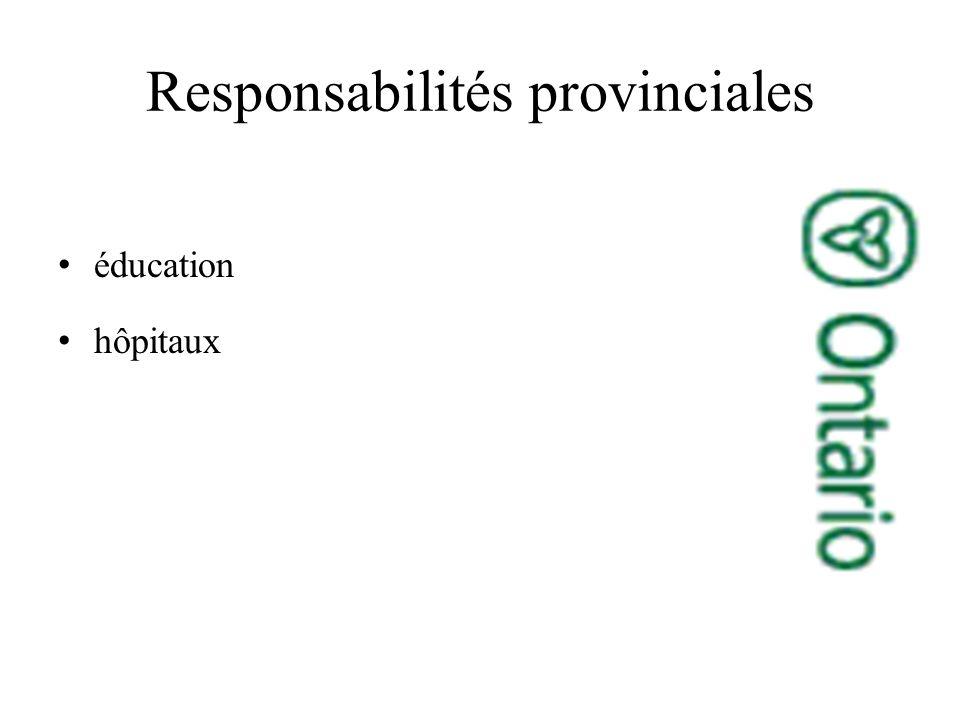 Responsabilités provinciales éducation hôpitaux