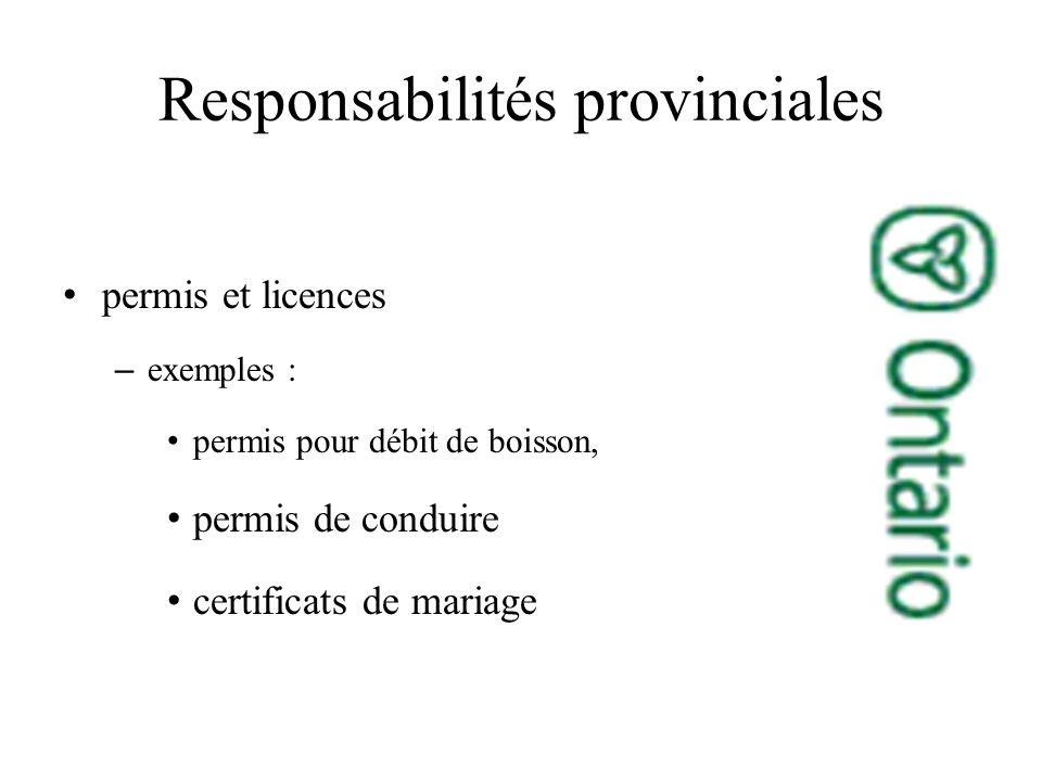 permis et licences –exemples : permis pour débit de boisson, permis de conduire certificats de mariage Responsabilités provinciales