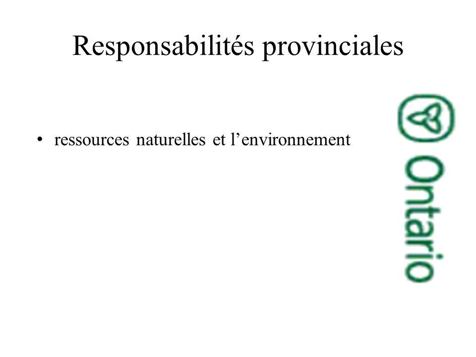 Responsabilités provinciales ressources naturelles et lenvironnement