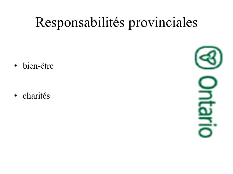 Responsabilités provinciales bien-être charités