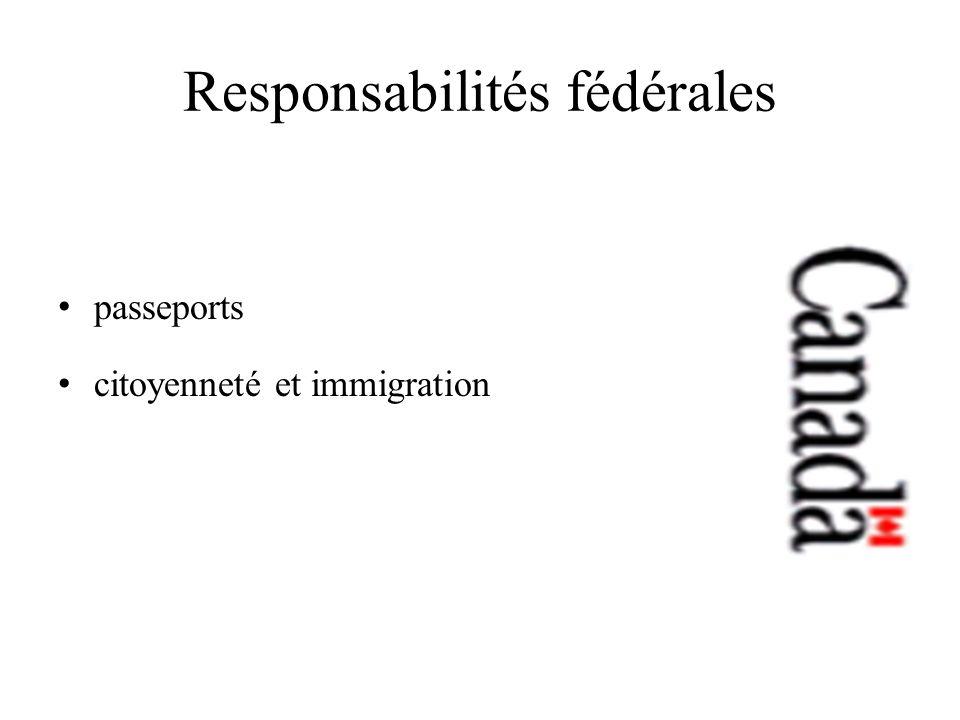 Responsabilités fédérales passeports citoyenneté et immigration