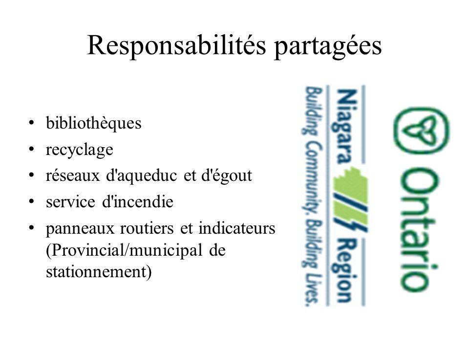 Responsabilités partagées bibliothèques recyclage réseaux d aqueduc et d égout service d incendie panneaux routiers et indicateurs (Provincial/municipal de stationnement)