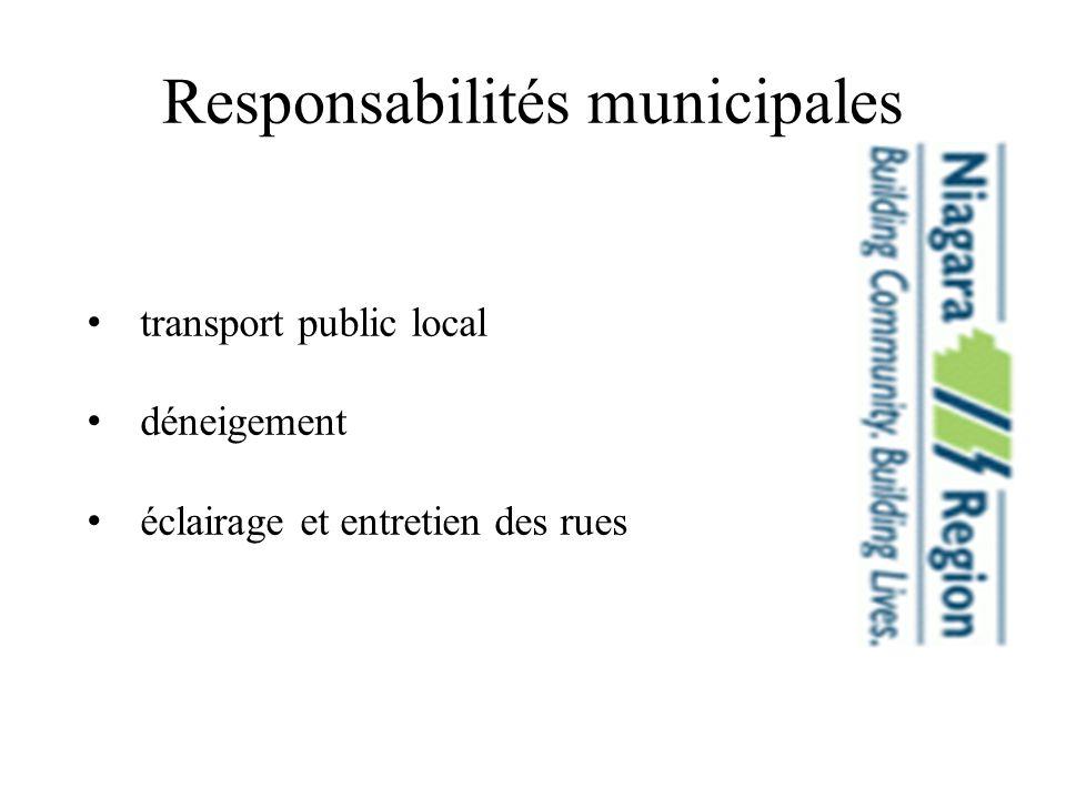 Responsabilités municipales transport public local déneigement éclairage et entretien des rues