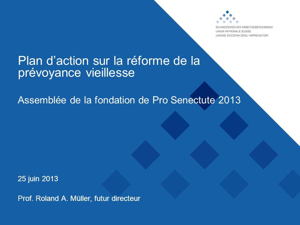 Union patronale suisse, Plan daction sur la réforme de la prévoyance vieillesse Prof. Roland A. Müller, futur directeur 25 juin 2013 Assemblée de la f