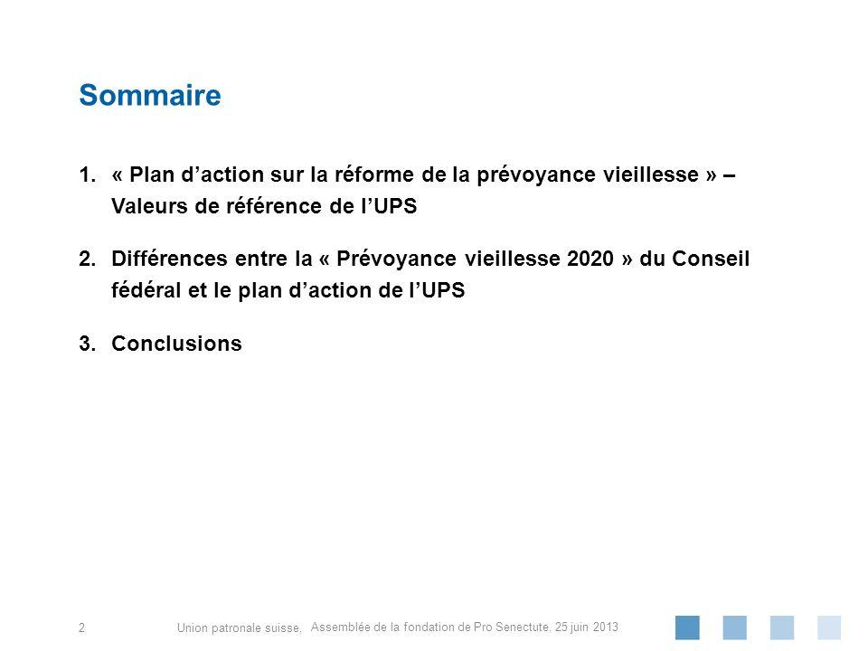 Union patronale suisse, 1.« Plan daction sur la réforme de la prévoyance vieillesse » – Valeurs de référence de lUPS 2.Différences entre la « Prévoyan