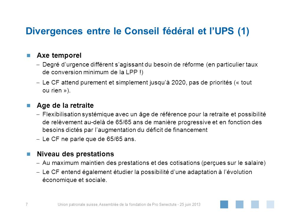 Union patronale suisse, Axe temporel Degré durgence différent sagissant du besoin de réforme (en particulier taux de conversion minimum de la LPP !) L