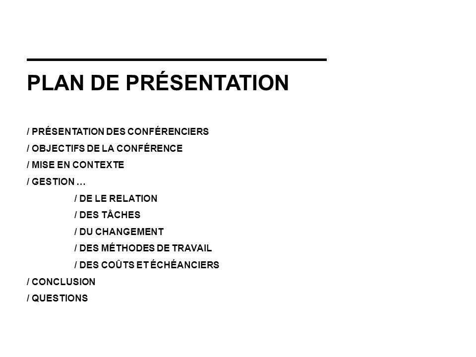 PLAN DE PRÉSENTATION / PRÉSENTATION DES CONFÉRENCIERS / OBJECTIFS DE LA CONFÉRENCE / MISE EN CONTEXTE / GESTION … / DE LE RELATION / DES TÂCHES / DU CHANGEMENT / DES MÉTHODES DE TRAVAIL / DES COÛTS ET ÉCHÉANCIERS / CONCLUSION / QUESTIONS