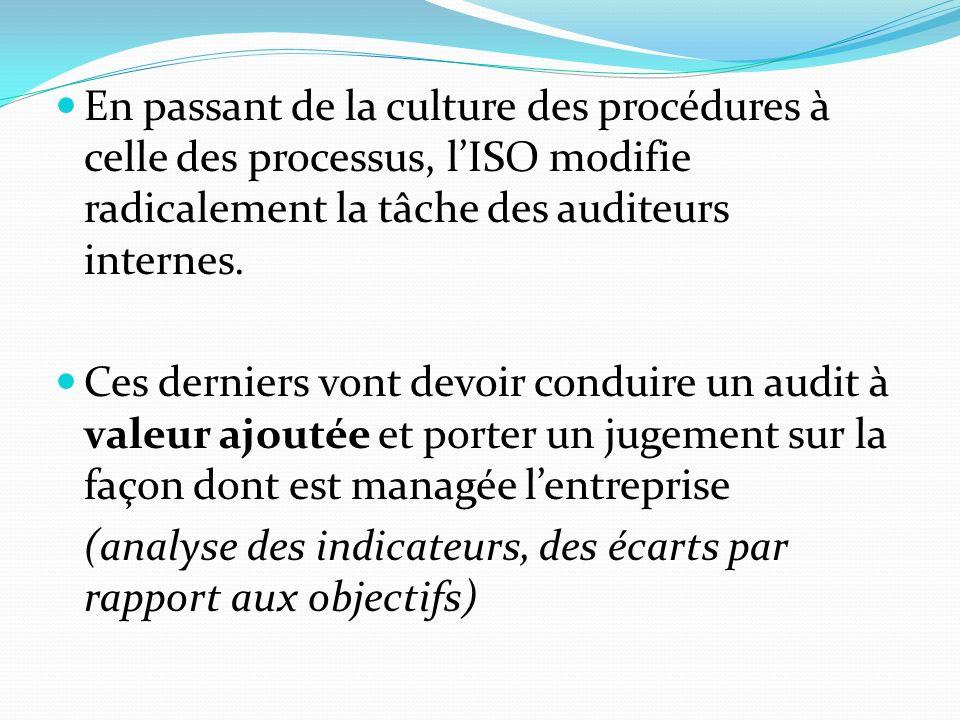 En passant de la culture des procédures à celle des processus, lISO modifie radicalement la tâche des auditeurs internes.