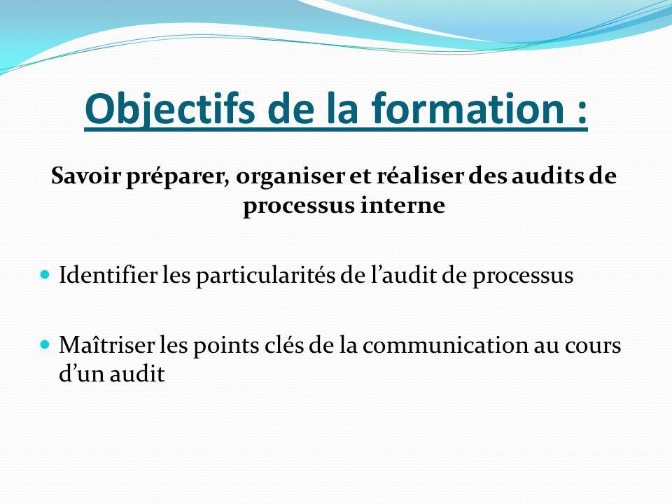 Objectifs de la formation : Savoir préparer, organiser et réaliser des audits de processus interne Identifier les particularités de laudit de processus Maîtriser les points clés de la communication au cours dun audit