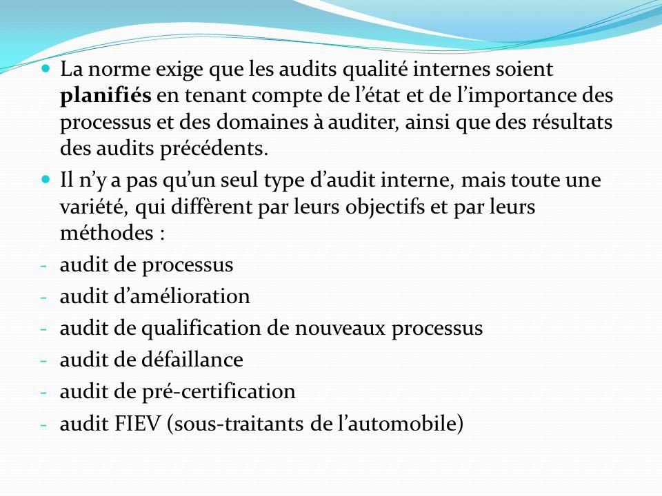 La norme exige que les audits qualité internes soient planifiés en tenant compte de létat et de limportance des processus et des domaines à auditer, ainsi que des résultats des audits précédents.