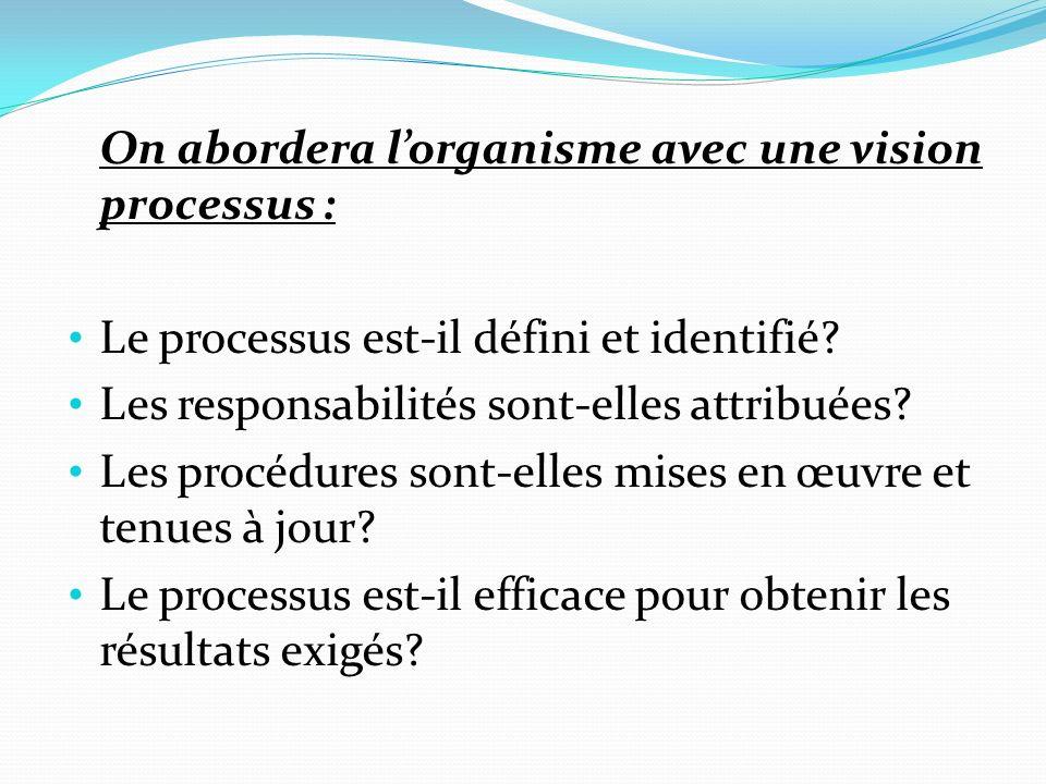 On abordera lorganisme avec une vision processus : Le processus est-il défini et identifié.
