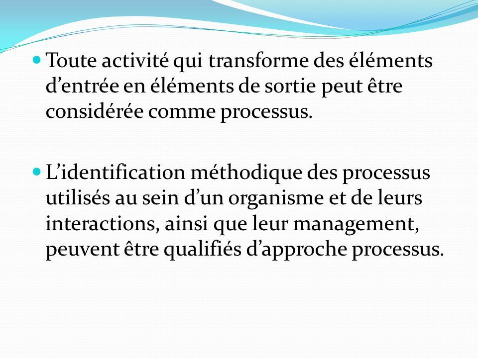 Toute activité qui transforme des éléments dentrée en éléments de sortie peut être considérée comme processus.