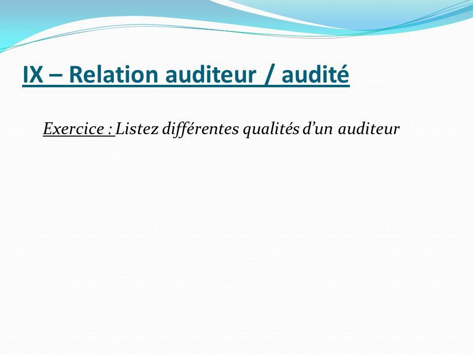 IX – Relation auditeur / audité Exercice : Listez différentes qualités dun auditeur