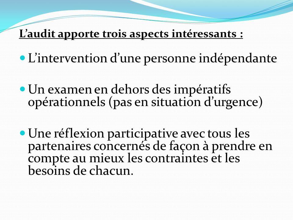 Laudit apporte trois aspects intéressants : Lintervention dune personne indépendante Un examen en dehors des impératifs opérationnels (pas en situation durgence) Une réflexion participative avec tous les partenaires concernés de façon à prendre en compte au mieux les contraintes et les besoins de chacun.