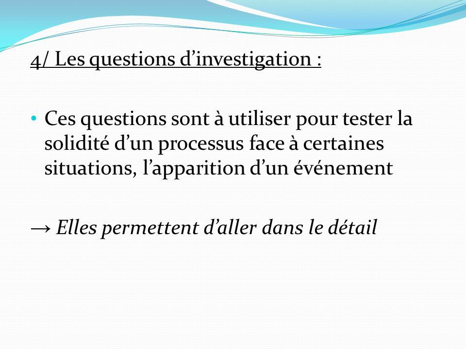 4/ Les questions dinvestigation : Ces questions sont à utiliser pour tester la solidité dun processus face à certaines situations, lapparition dun événement Elles permettent daller dans le détail