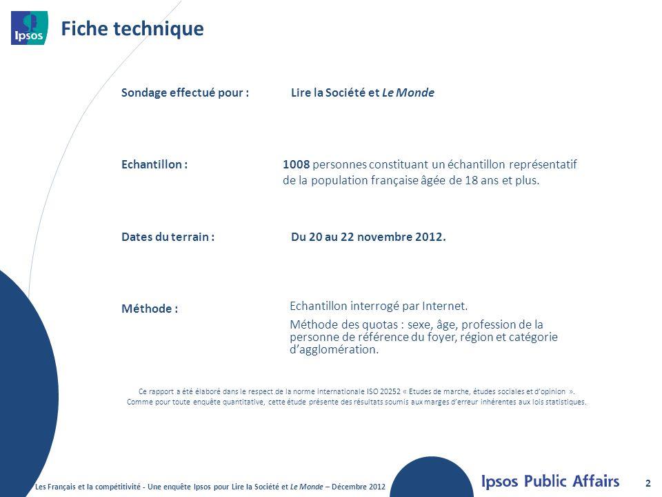 Fiche technique 2 Sondage effectué pour :Lire la Société et Le Monde Echantillon :1008 personnes constituant un échantillon représentatif de la population française âgée de 18 ans et plus.