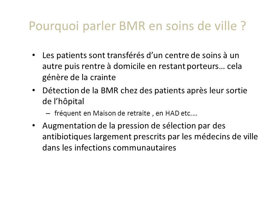 Pourquoi parler BMR en soins de ville ? Les patients sont transférés dun centre de soins à un autre puis rentre à domicile en restant porteurs… cela g