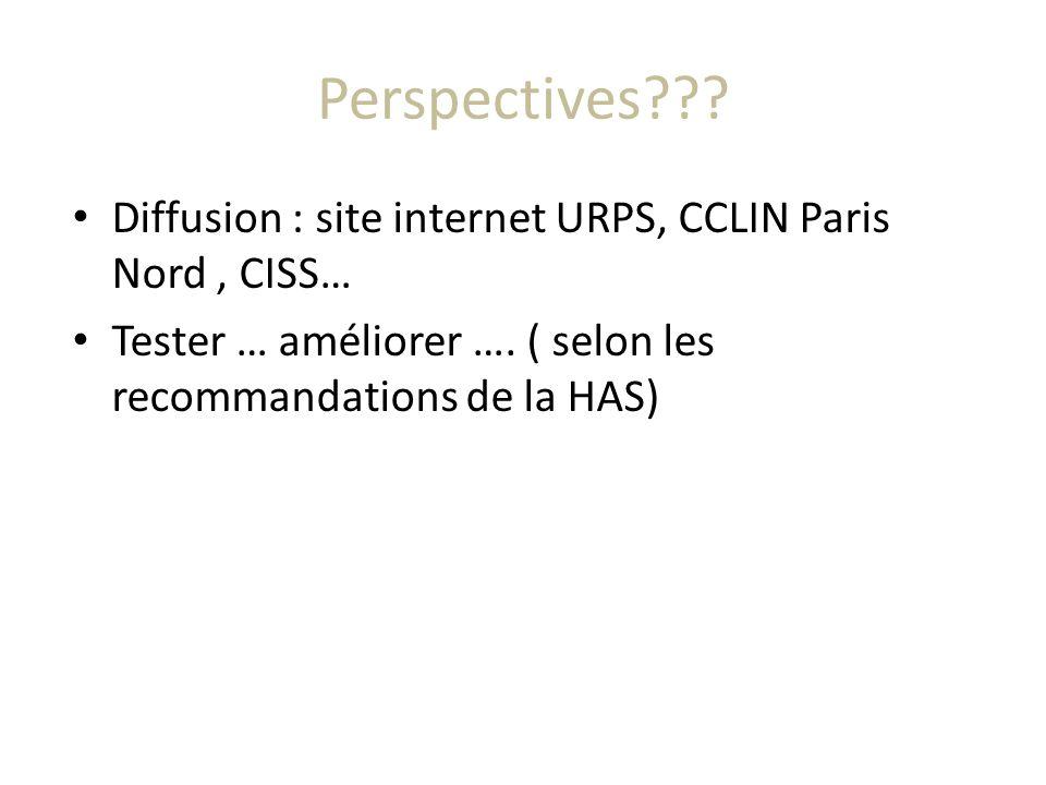 Perspectives??? Diffusion : site internet URPS, CCLIN Paris Nord, CISS… Tester … améliorer …. ( selon les recommandations de la HAS)