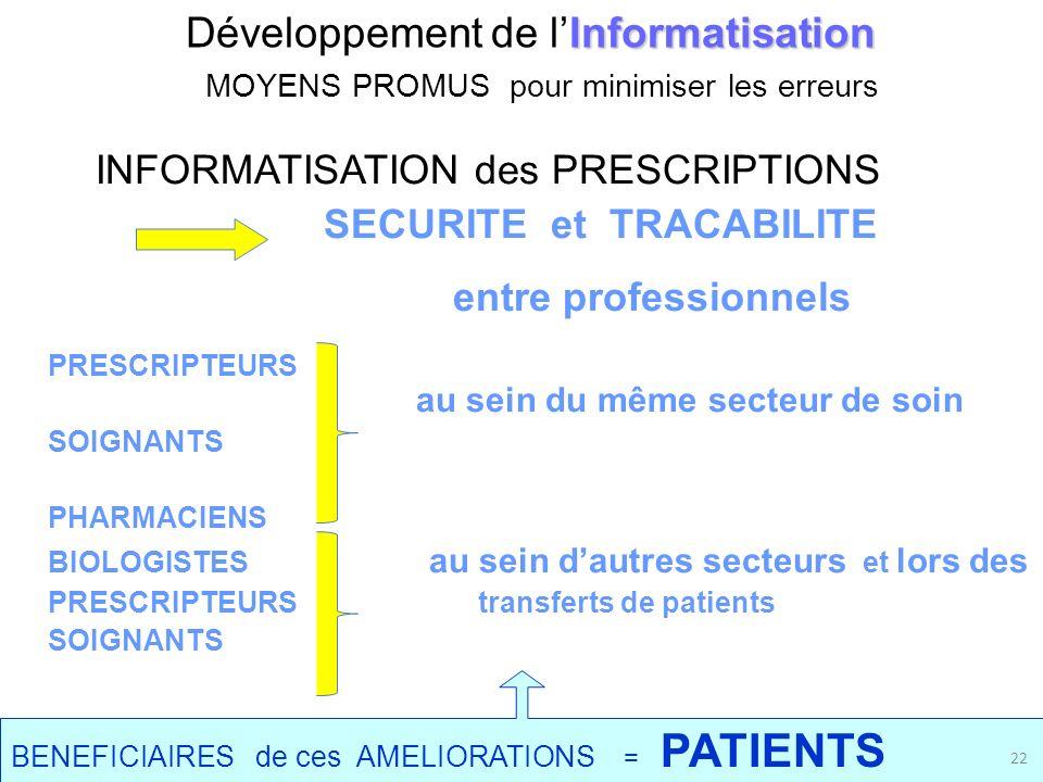 Informatisation Développement de lInformatisation MOYENS PROMUS pour minimiser les erreurs INFORMATISATION des PRESCRIPTIONS SECURITE et TRACABILITE e