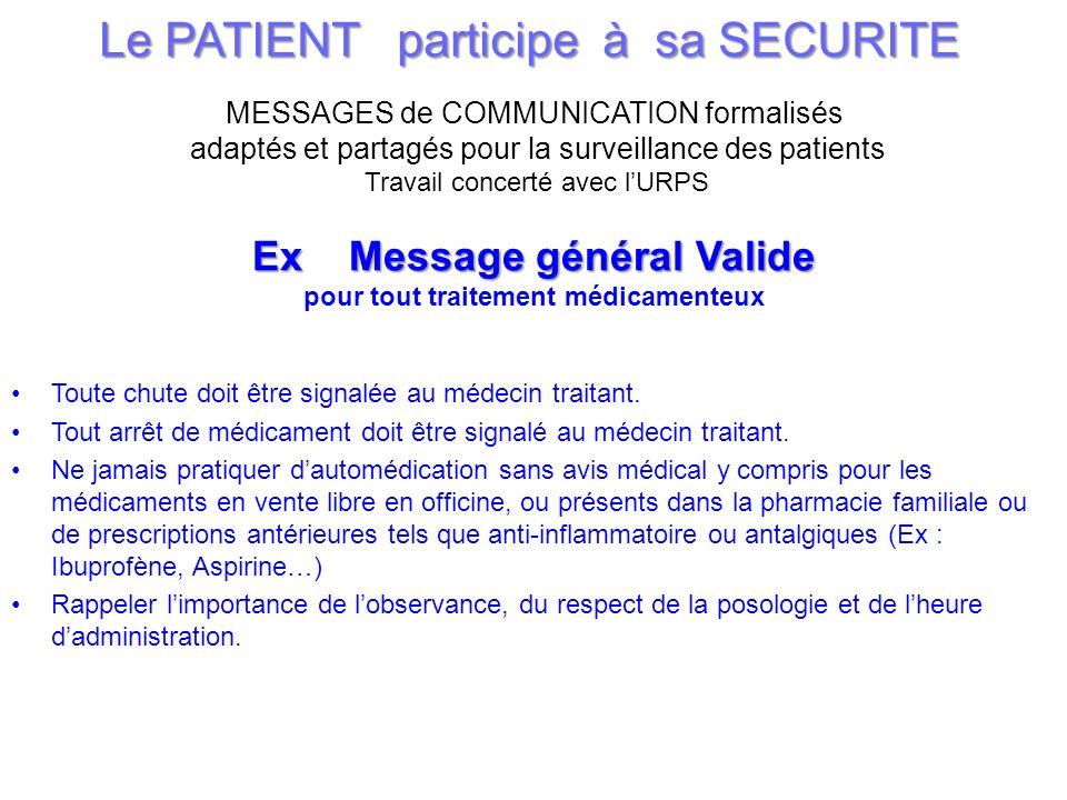 37 Le PATIENT participe à sa SECURITE MESSAGES de COMMUNICATION formalisés adaptés et partagés pour la surveillance des patients Travail concerté avec