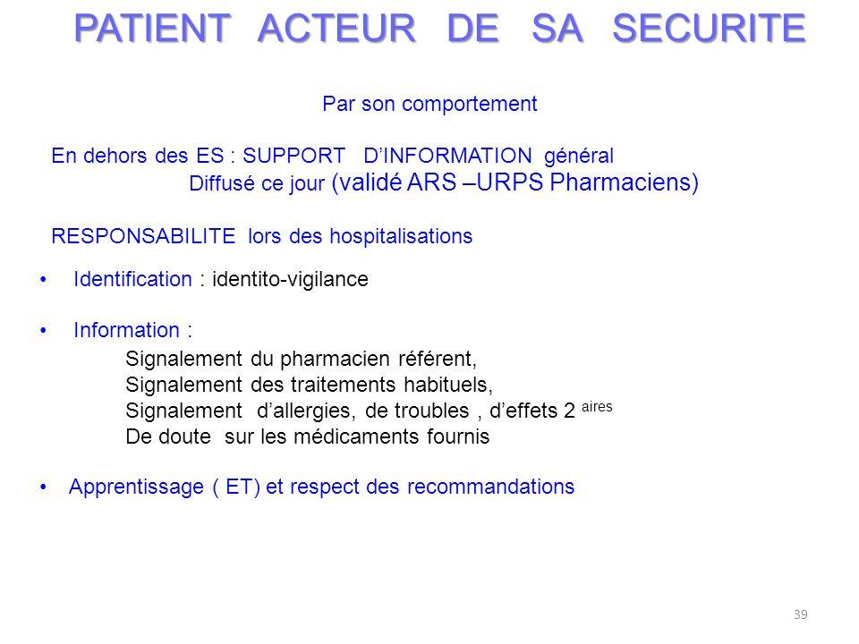 39 PATIENT ACTEUR DE SA SECURITE Par son comportement En dehors des ES : SUPPORT DINFORMATION général Diffusé ce jour (validé ARS –URPS Pharmaciens) R