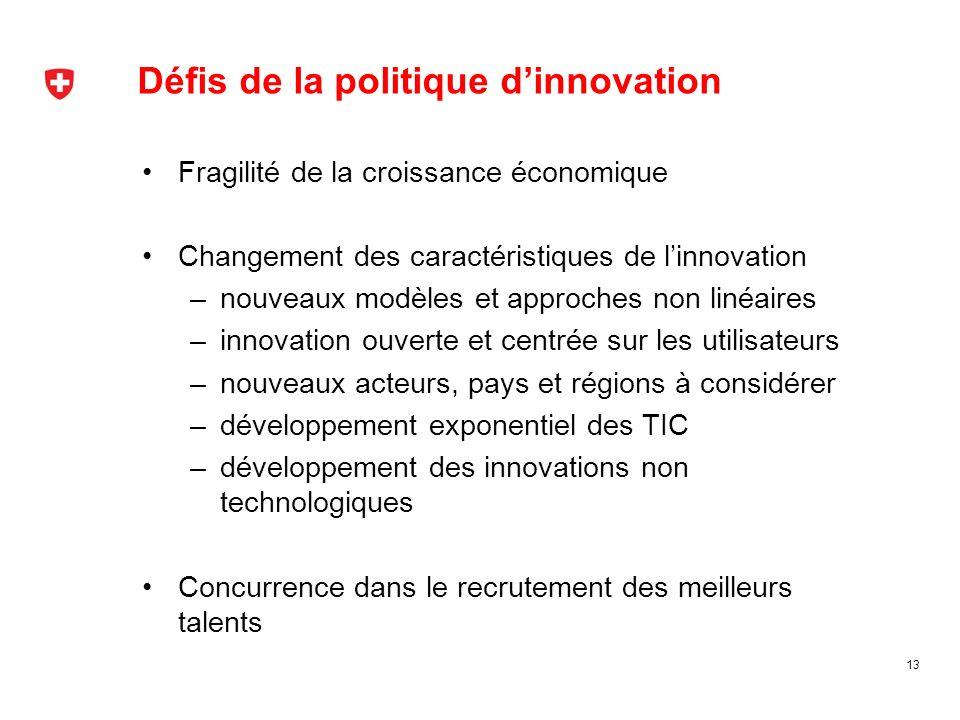 Défis de la politique dinnovation 13 Fragilité de la croissance économique Changement des caractéristiques de linnovation –nouveaux modèles et approch