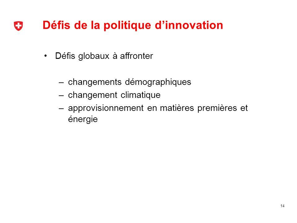Défis de la politique dinnovation 14 Défis globaux à affronter –changements démographiques –changement climatique –approvisionnement en matières premi