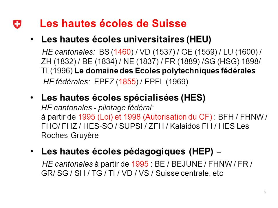 Les hautes écoles de Suisse Les hautes écoles universitaires (HEU) HE cantonales: BS (1460) / VD (1537) / GE (1559) / LU (1600) / ZH (1832) / BE (1834