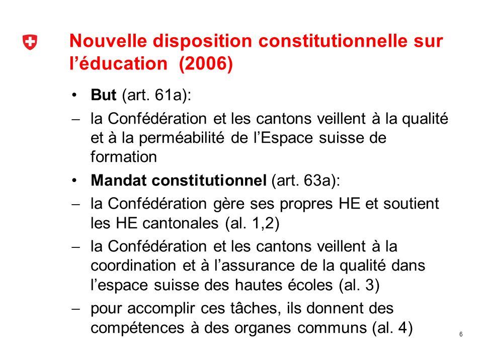 Nouvelle disposition constitutionnelle sur léducation (2006) But (art. 61a): la Confédération et les cantons veillent à la qualité et à la perméabilit
